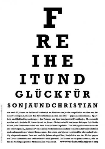 Freiheit und Glück für Sonja und Christian. RZ Frankfurt Plakat
