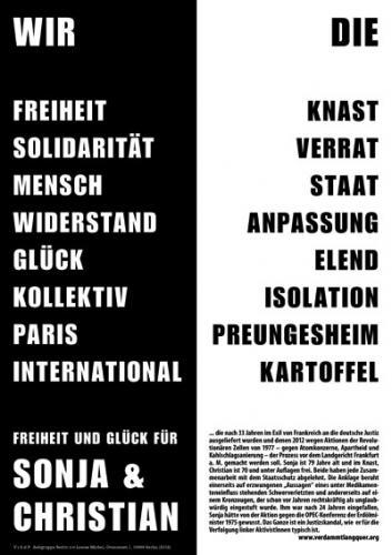 Wir Die. Freiheit Knast. Solidarität Verrat. Mensch Staat. Widerstand Anpassung. Sonja und Christian Plakat RZ 2012
